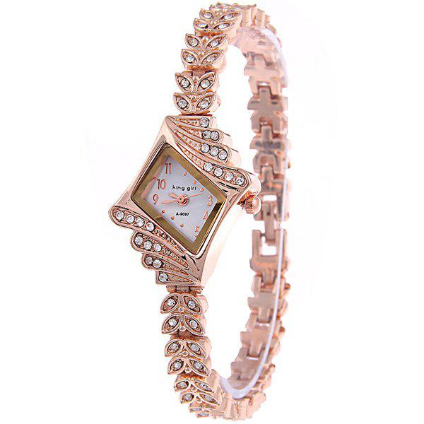 Vintage Rhinestoned Leaves Bracelet Watch - WHITE