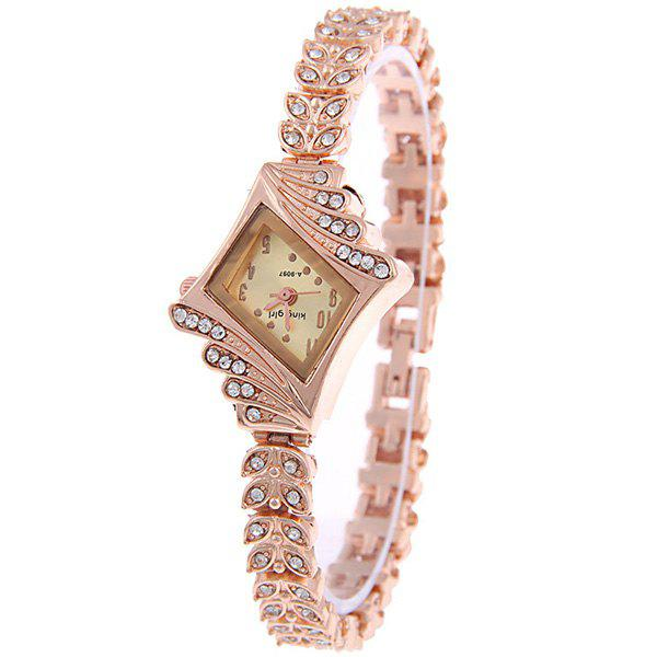 Vintage Rhinestoned Leaves Bracelet Watch - GOLDEN