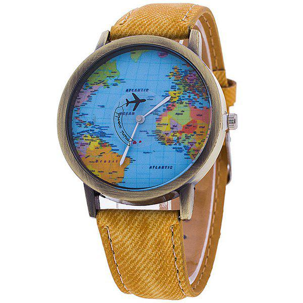 Artificial Leather World Map Airplane Watch - YELLOW