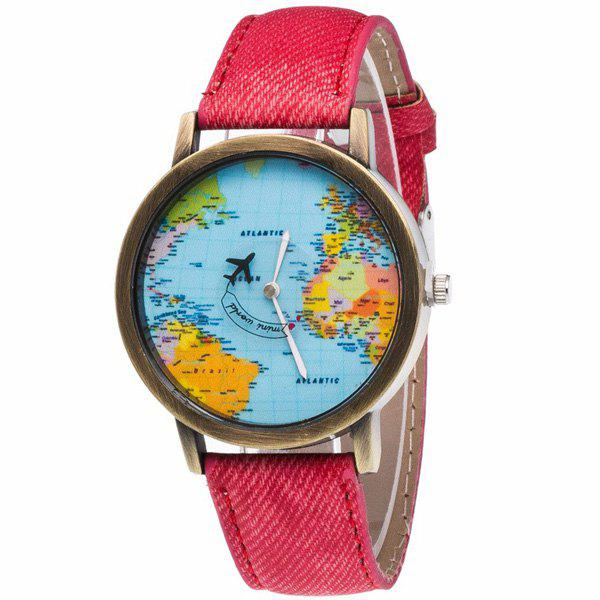 Artificial Leather World Map Airplane Watch - RED