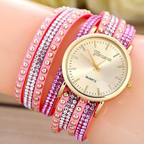 Faux Leather Rhinestone Rivets Bracelet Watch - PINK