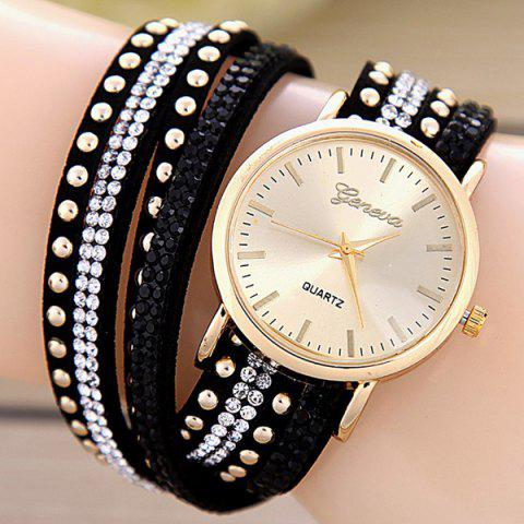 Faux Leather Rhinestone Rivets Bracelet Watch - BLACK