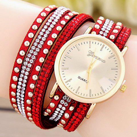 Faux Leather Rhinestone Rivets Bracelet Watch - RED