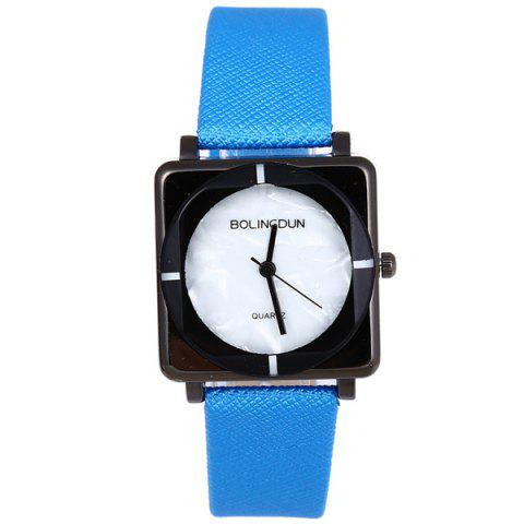 Faux Leather Geometric Quartz Watch - BLUE