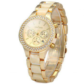 Contena Geneva Date Function Female Quartz Watch Diamond Round Dial Steel Strap