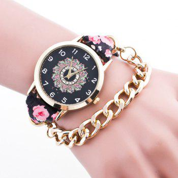 Vintage Adorn Flower Chain Bracelet Watch