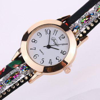 Artificial Leather Bracelet Watch - BLACK
