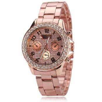 Rhinestoned Analog Digital Steel Band Watch