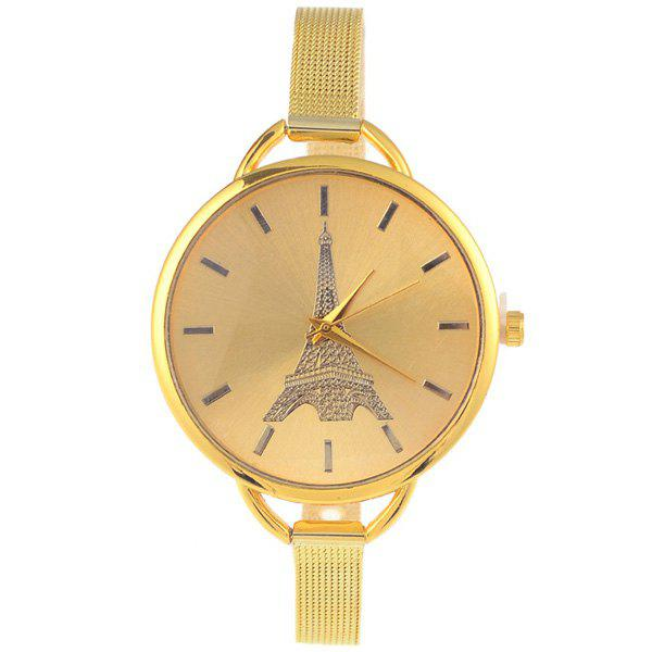 Vintage Eiffel Tower Pattern Quartz Watch - GOLDEN