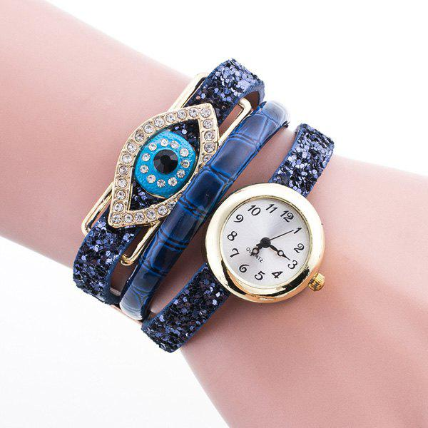 Devil Eye Rhinestone Wrap Bracelet Watch - BLUE