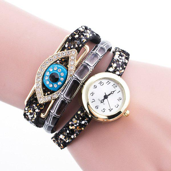Devil Eye Rhinestone Wrap Bracelet Watch - GRAY
