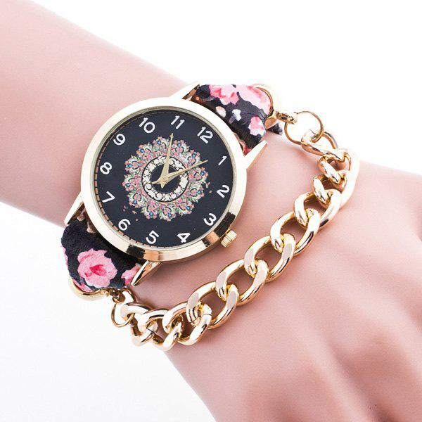 Vintage Adorn Flower Chain Bracelet Watch - BLACK