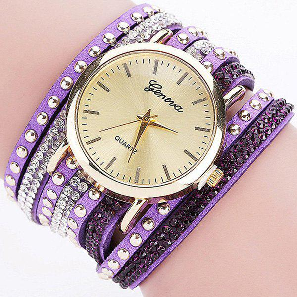 Faux Leather Rhinestone Rivets Bracelet Watch - PURPLE