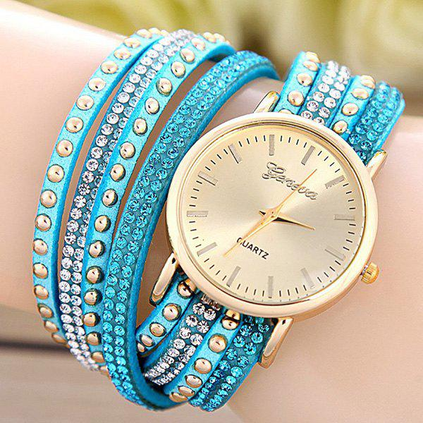 Faux Leather Rhinestone Rivets Bracelet Watch - AZURE