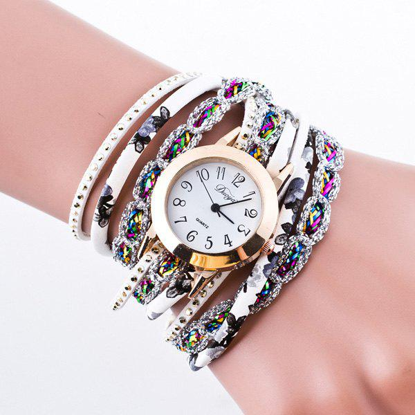 Artificial Leather Bracelet Watch - WHITE