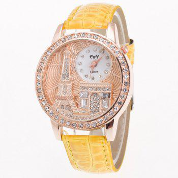 Vintage Eiffel Tower Rhinestone Quartz Watch