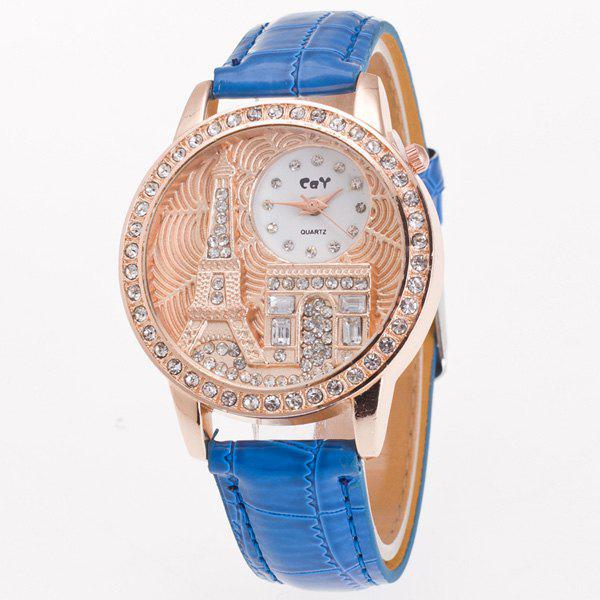 Vintage Eiffel Tower Rhinestone Quartz Watch - BLUE