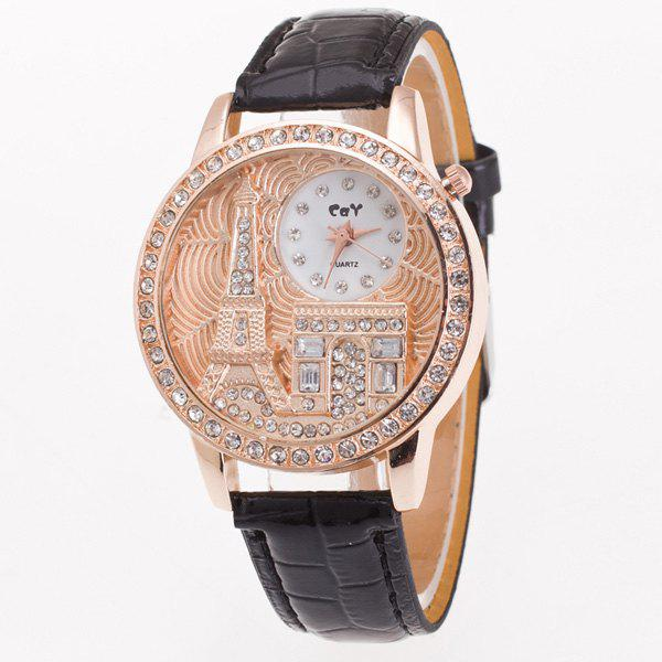 Vintage Eiffel Tower Rhinestone Quartz Watch - BLACK
