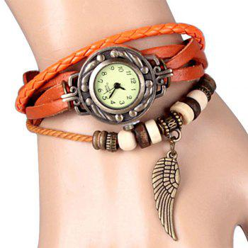 Quartz Watch with Wing Design Round Dial and Leather Watch Band for Women - ORANGE ORANGE