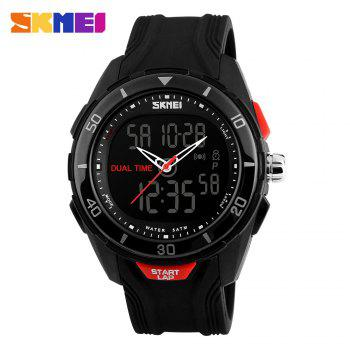 SKMEI 1157 Fashion Dual Time Sports Watch with EL Backlight 50M Water Resistance -  BLACK