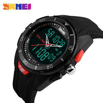 SKMEI 1157 Fashion Dual Time Sports Watch with EL Backlight 50M Water Resistance - BLACK BLACK