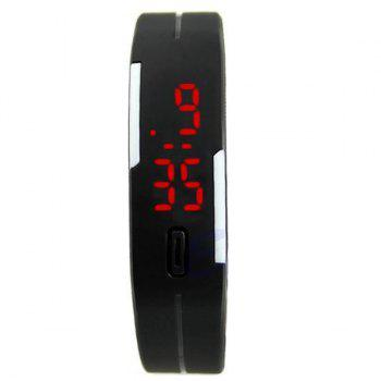 LED Digital Sport Wristband Silicone Watch - BLACK
