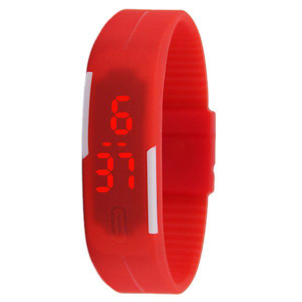 LED Digital Sportif Montre avec Bande de Silicone - Rouge