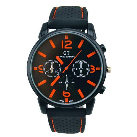 Vintage Silicone Big Dial Quartz Watch - ORANGE