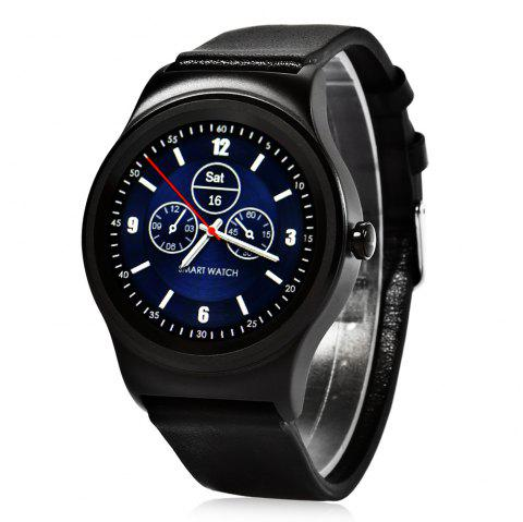 SMA - R Heart Rate Monitor Smart Watch Dual Bluetooth Wristband - BLACK LEATHER BAND