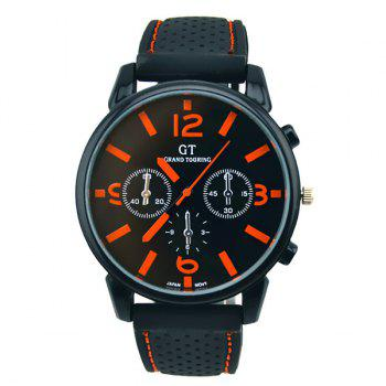 Vintage Silicone Big Dial Quartz Watch - ORANGE ORANGE