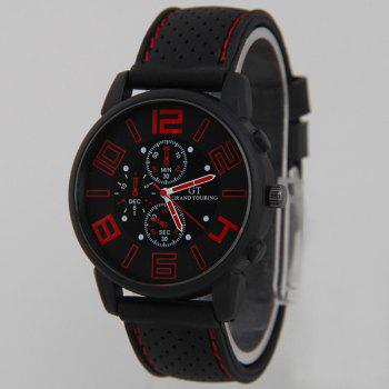 Silicone Big Dial Quartz Watch - RED RED