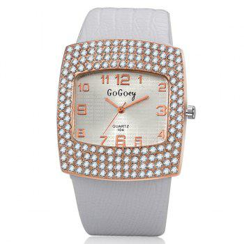 Geometric Dial Plate Rhinestone Quartz Watch