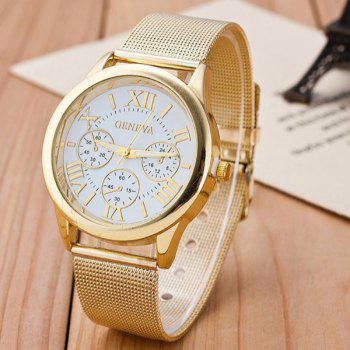 Analog Roman Numerals Alloy Quartz Watch - Blanc