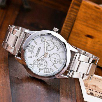 Analog Roman Numerals Steel Quartz Watch - WHITE