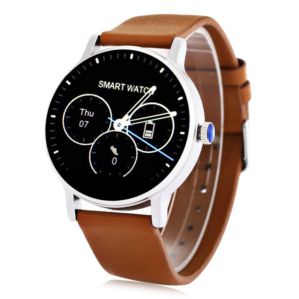 SMA - 09 Heart Rate Monitor Smart Watch with Alarm Phonebook Voice Record - BROWN LEATHER BAND