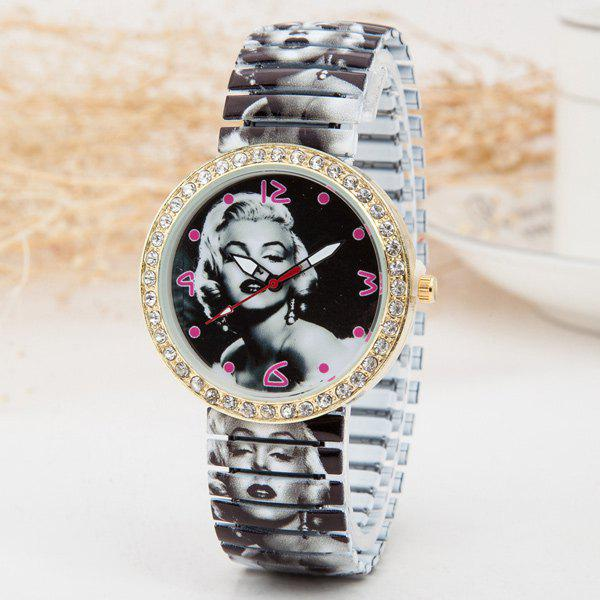 Rhinestone Marilyn Monroe Print Elastic Watch - GOLDEN
