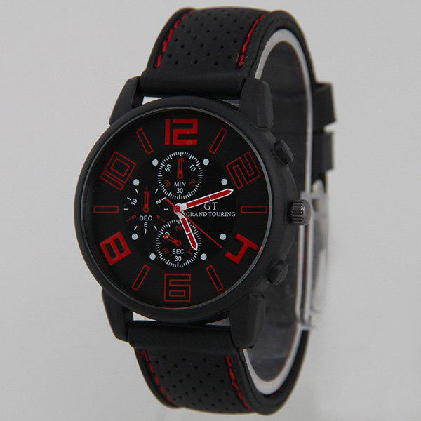 Silicone Big Dial Quartz Watch - RED