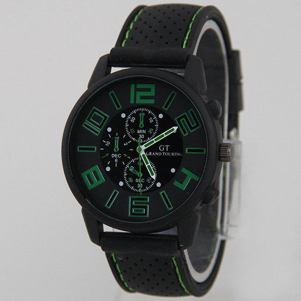 Silicone Big Dial Quartz Watch - GREEN