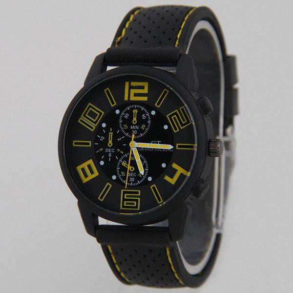 Silicone Big Dial Quartz Watch - YELLOW
