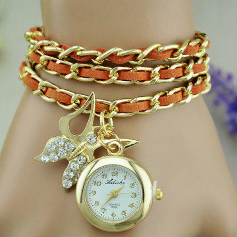 Faux Leather Chain Butterfly Bracelet Watch - ORANGE