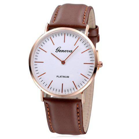 Analog Dial Faux Leather Watch - BROWN