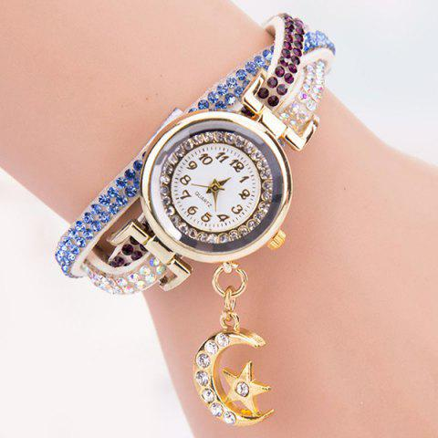 Rhinestoned Star Moon Bracelet Watch - WHITE