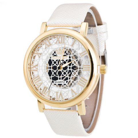 Faux Leather Roman Numerals Embellished Watch - WHITE