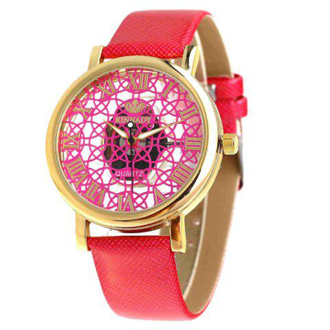Faux Leather Roman Numerals Embellished Watch - RED