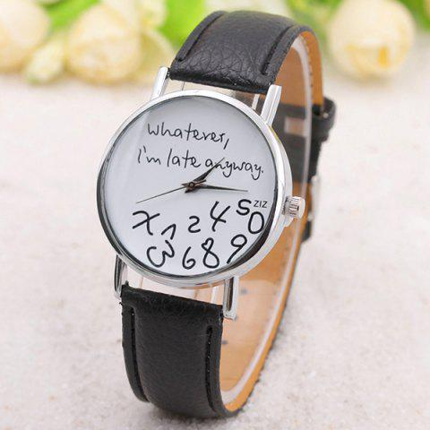 Whatever Dial PU Leather Watch - BLACK