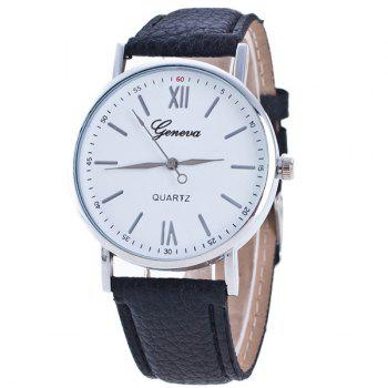 Buy Roman Numerals Dial PU Leather Watch BLACK