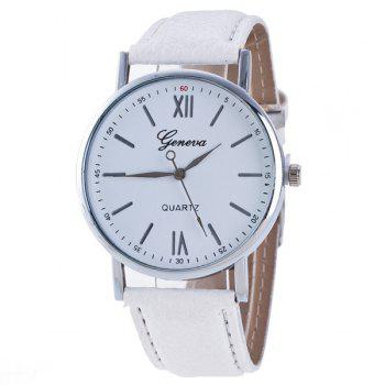 Buy Roman Numerals Dial PU Leather Watch WHITE
