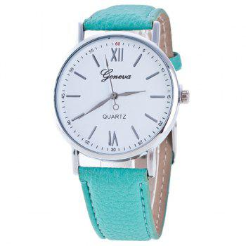 Buy Roman Numerals Dial PU Leather Watch MINT