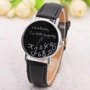 Whatever Printed PU Leather Watch - BLACK