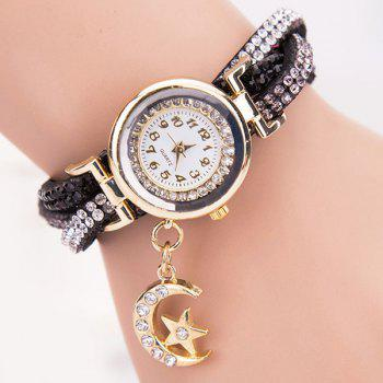 Rhinestoned Star Moon Bracelet Watch